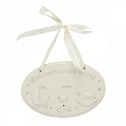 'Welcome to the World' Hanging Plaque